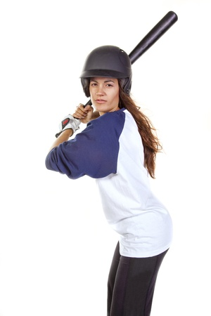 Woman Baseball or softball Player at bat Stock Photo - 17621813