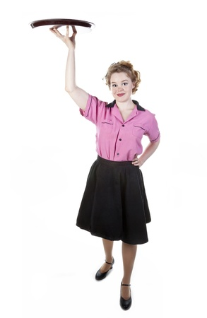 Vintage Style Waitress or Server Stock Photo - 17621810