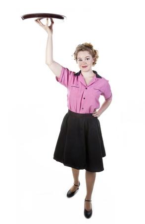 Vintage Style Waitress or Server Stock Photo - 17621810