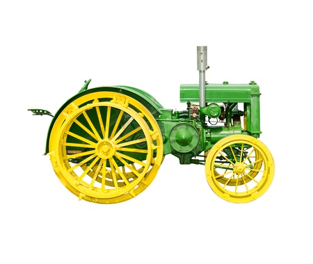 Antique Farm Tractor Isolated on White