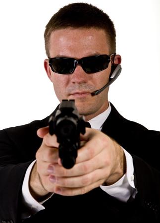 Secret Agent Pointing a Gun photo