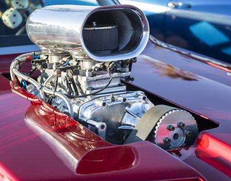 carburettor: Chromed supercharger air intake, carburetor and manifold on a hot rod