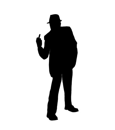 Silhouette of a Man Flipping the Bird Stock Photo