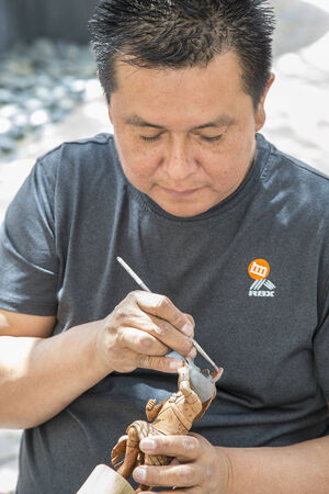 hopi: Traditional Hopi Kachina Doll Artist Showing Work Editorial