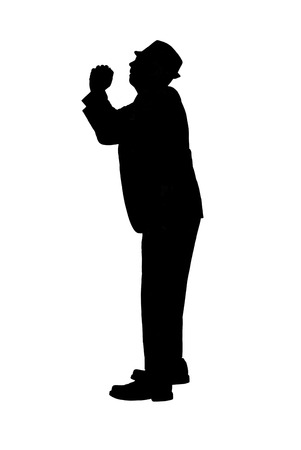 pleading: Silhouette of a Man with Pleading Stock Photo