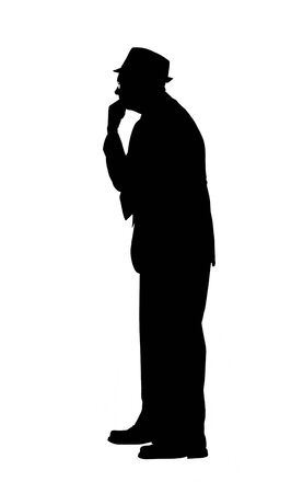 Silhouette of a Man in Thought photo