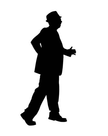 Silhouette of a Man Walking Fast Stock Photo