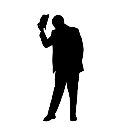 tipping: Silhouette of a Man Tipping his Hat Stock Photo