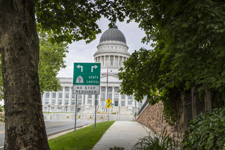 State Capitol Building in Salt Lake City Utah from State Street. Stock Photo