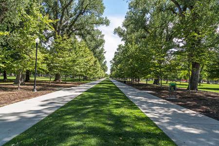 orderly: Walkways at the public Liberty Park in Salt Lake City, Utah.
