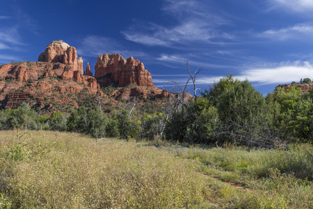coconino national forest: Cathedral Rocks over Oak Creek Canyon in Sedona Arizona. Stock Photo