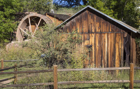 Old brick water mill at the Crescent Moon Ranch recreation area near  Sedona Arizona and also near Red Rock Crossing at Oak Creek. Stock Photo