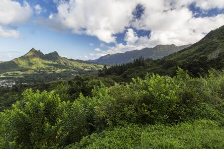 View of the mountains along the Pali Highway at the Nuuanu Pali State Park on Oahu Island in Hawaii.