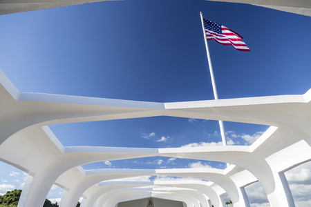 American flag seen from inside the U.S.S. Arizona Memorial in Pearl Harbor on Oahu Island in Hawaii.