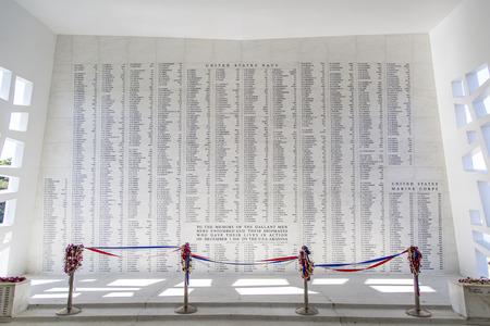 Names of American Servicemen killed inscribed on a wall inside the U.S.S. Arizona Memorial in Pearl Harbor on Oahu Island in Hawaii.