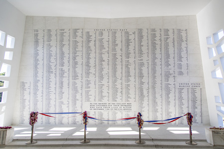 Names of American Servicemen killed inscribed on a wall inside the U.S.S. Arizona Memorial in Pearl Harbor on Oahu Island in Hawaii.