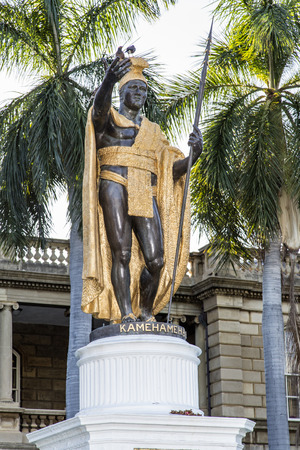 King Kamehameha Statue in front of Aliiolani Hale Palace.
