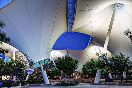 scottsdale: Scottsdale Arizona USA  April 8 2015: Scottsdale landmark Skysong courtyard and shade structure photographed in the evening.