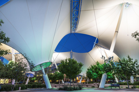 scottsdale: Scottsdale Arizona  April 8: Scottsdale landmark Skysong courtyard and shade structure photographed in the evening on April 8 2015 in Scottsdale. Editorial