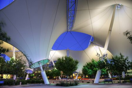 scottsdale: Scottsdale, AZ - April 8, 2015: Scottsdale landmark  Skysong courtyard and shade structure photographed in the evening on April  8, 2015 in Scottsdale.