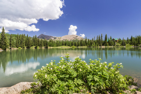 Dark Canyon Lake with Mount Tomasaki in the background photographed in the beautiful La Sal mountains near Moab Utah.
