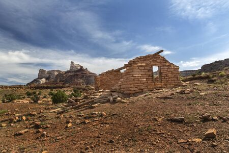 Stone miner cabin at an abandoned radium mine from the 1880s in the San Rafael Swell in Utah near Temple Mountain. Stock Photo