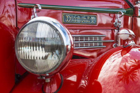 Ornamental detail on an antique pickup truck.