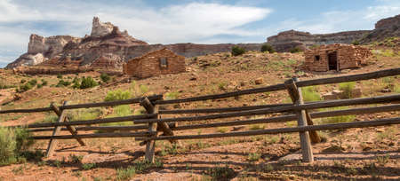 Ruins of historic stone mine cabins at an abandoned radium mine from the 1880s in the San Rafael Swell in Utah near Temple Mountain. Stock Photo