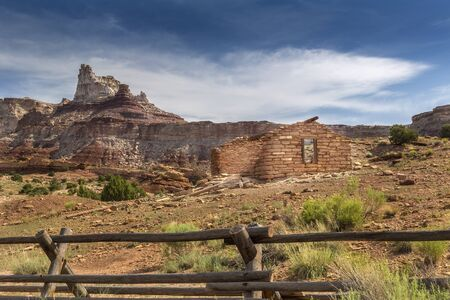 Ruins of a historic stone mine cabin at an abandoned radium mine from the 1880s in the San Rafael Swell in Utah near Temple Mountain.