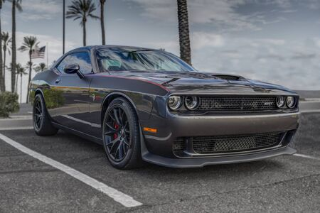 SCOTTSDALE, AZ - SEPTEMBER 5, 2015: Gray 2015 Dodge Challenger SRT Hemi Hellcat automobile in Scottsdale, Arizona