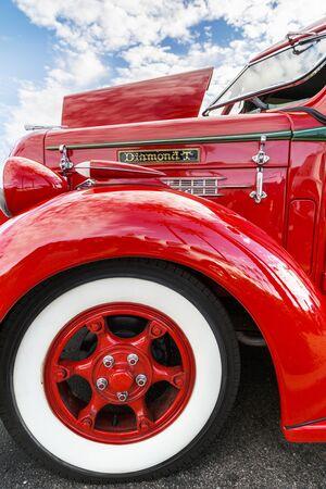 fender: SCOTTSDALE, AZ - SEPTEMBER 5: Fender details on a Classic Diamond T Pickup Truck September 5, 2015 in Scottsdale, Arizona
