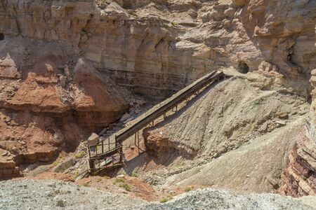 san rafael swell: Long abandoned Dirty Devil uranium mine in Emery County Utah in the San Rafael Swell near Hondu Arch. Stock Photo