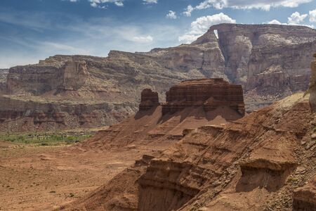 san rafael swell: McKay Flat and Hondu Arch from colorful Reds Canyon in the San Rafael Swell near Greenriver Utah.