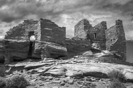 anasazi ruins: Wukoki pueblo ruin in Wupatki National Monument near Flagstaff Arizona photographed in black and white.