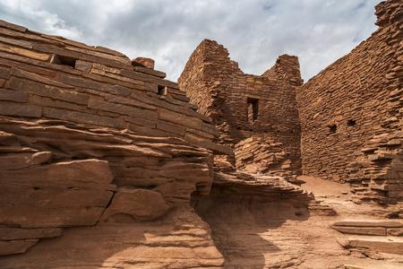 anasazi ruins: Wukoki pueblo ruin in Wupatki National Monument near Flagstaff Arizona.