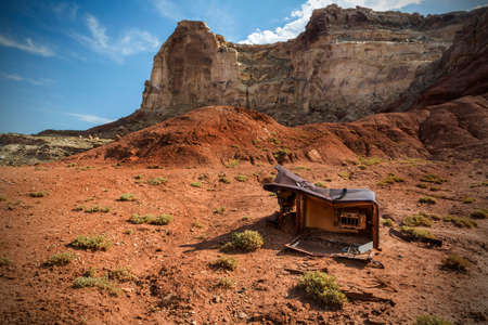 reds: Discarded refridgerator at Reds Canyon in the San Rafael Swell near Greenriver Utah. Stock Photo