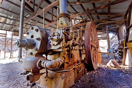 martinez: Abandoned gold mine milling machinery at the abandoned Martinez mine near Phoenix and Florence Arizona.
