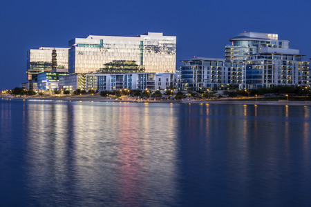 Tempe Arizona photographed from the Salt River during blue hour. Reklamní fotografie