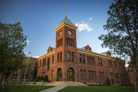The old sandstone Coconino County courthouse dating from 1894 in Flagstaff Arizona USA. Stock Photo