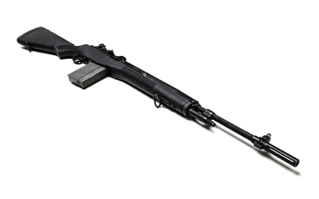 Black .303 caliber M1A rifle with a high-capacity clip isolated in white. Banque d'images - 115208916