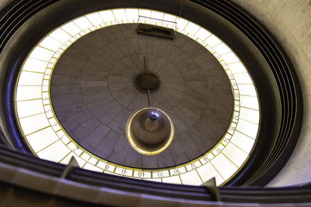 Foucault Pendulum at Griffith Observatory in Los Angeles California USA.
