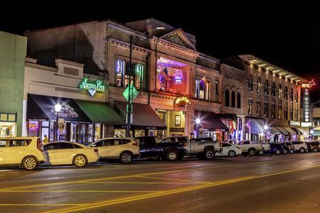 Historic Whiskey Row streetscape in Prescott Arizona photographed at night.