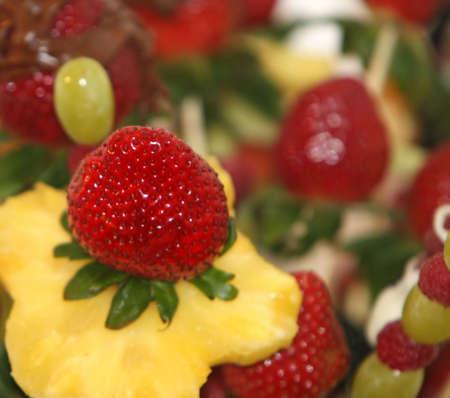 Close-up shot of a fruit bouquet