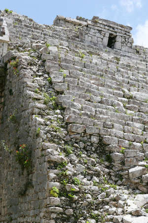 Large Mayan ruins at the site of Chichen Itza in the Yucatan Region of Mexico. These steps have been partially restored