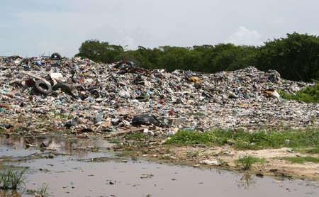A disgusting roadside dump outside of Belize City