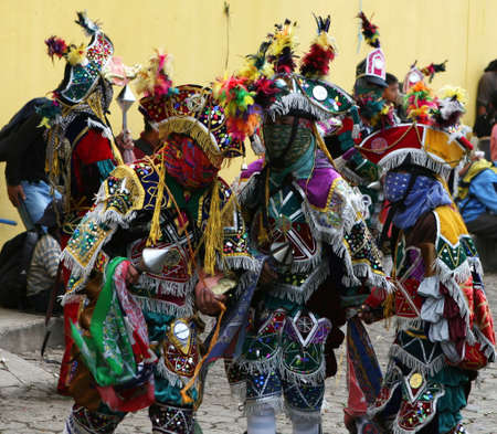 locals: Mayan dancers entertain the locals in this small village of Guatamala