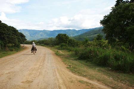 america centrale: Un cowboy cavalca un asino per la strada in America centrale