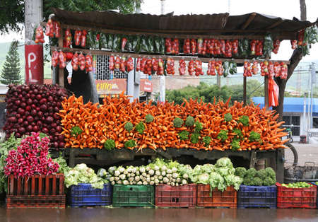 This large vegetable stand displays colorful carrots, onions, radishes, tomatoes, and more. Stock Photo