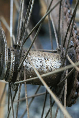 spokes: Close up of the spokes of an old bicycle