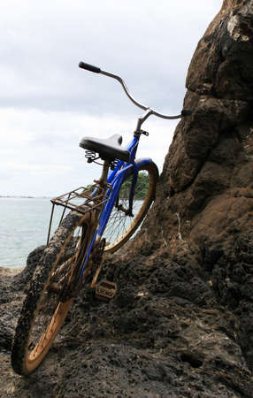 beach cruiser: A bicycle in front of the ocean